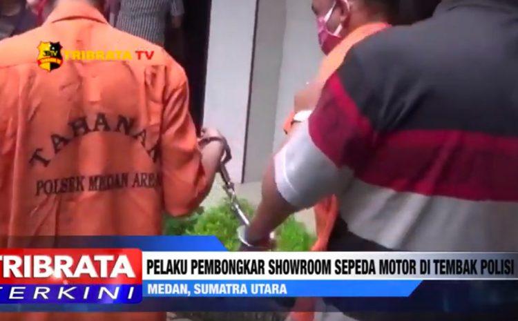 PELAKU PEMBONGKAR SHOWROOM SEPEDA MOTOR DI TEMBAK POLISI